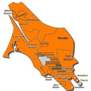 Map of Cities in Marin inc. Mill Valley, San Rafael, Novato, Tiburon, San Anselmo